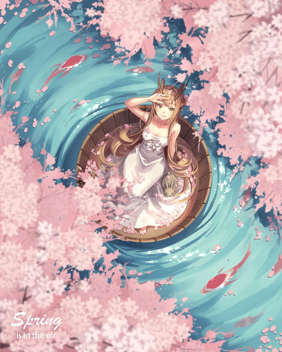 spring is in the air Illust of Maple April2021_Flower 春天 girl flower
