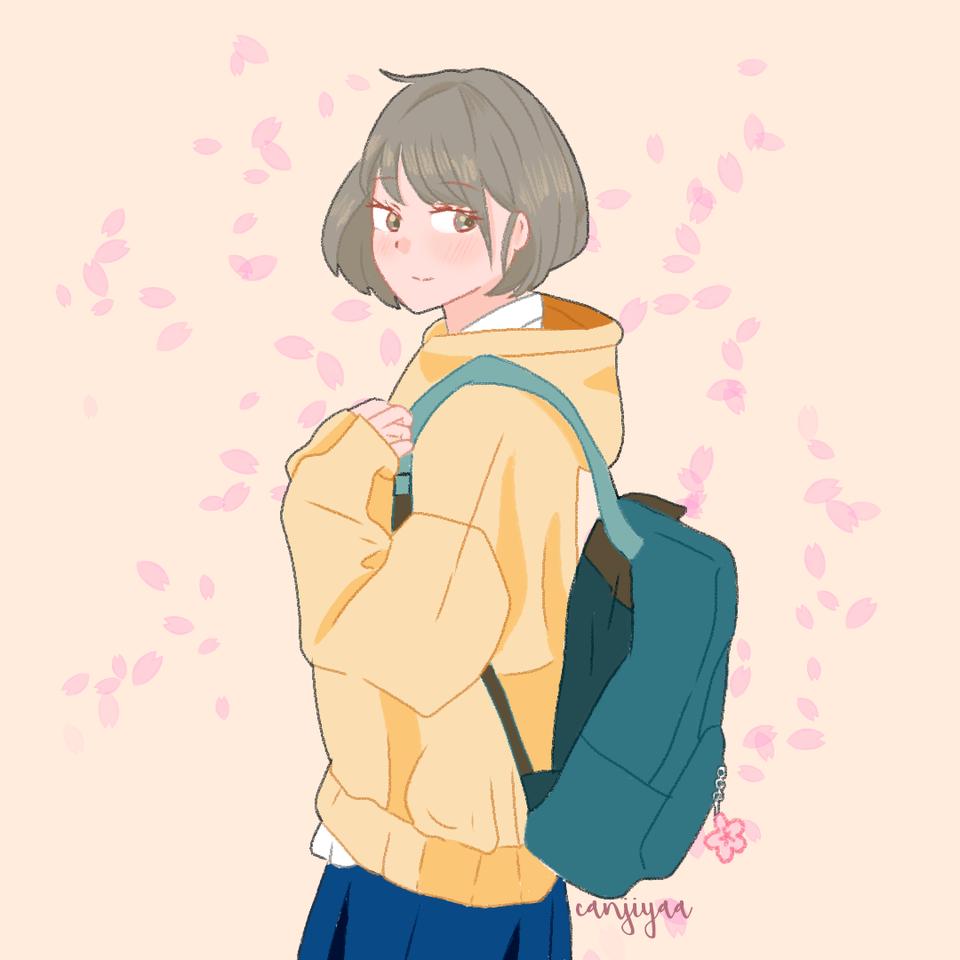Falling Sakura Illust of canjiyaa keyakizaka46fanart girl fanart