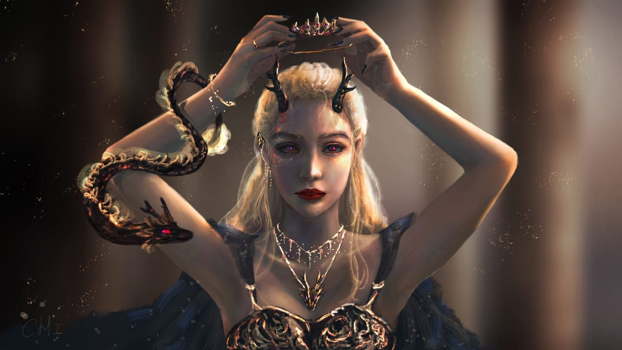 Dragons:Crown Illust of CHI-NAI February2021_Fantasy March2021_Creature girl animal eyes female 龍 hair illustration