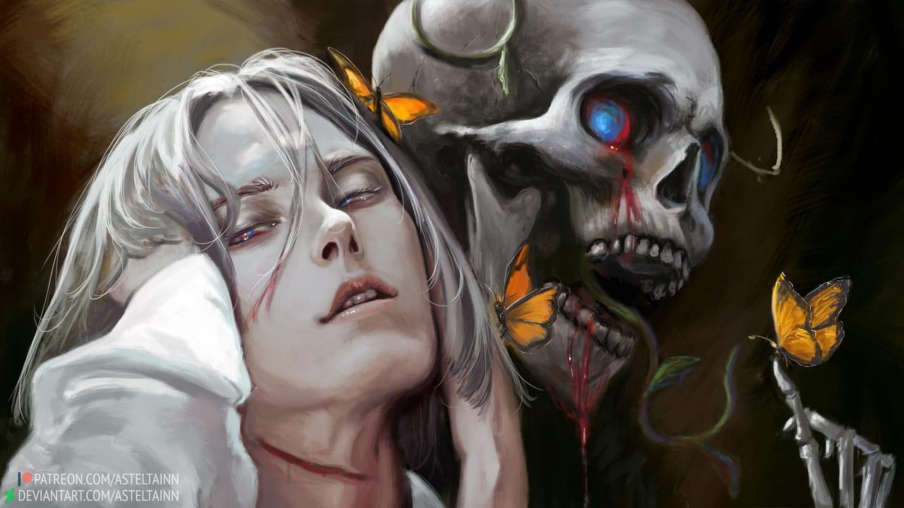 Akio Illust of asteltainn portrait demon horrord oc