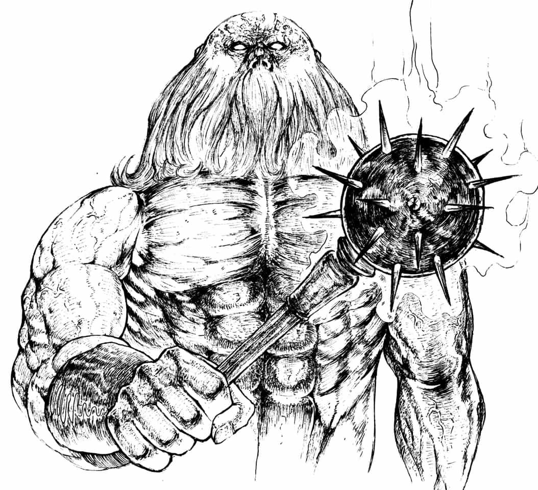 怪力男 Illust of 竹林一 fantasy February2021_Fantasy March2021_Creature アナログ ペン画 メイス monster 怪獣 怪力 muscle original