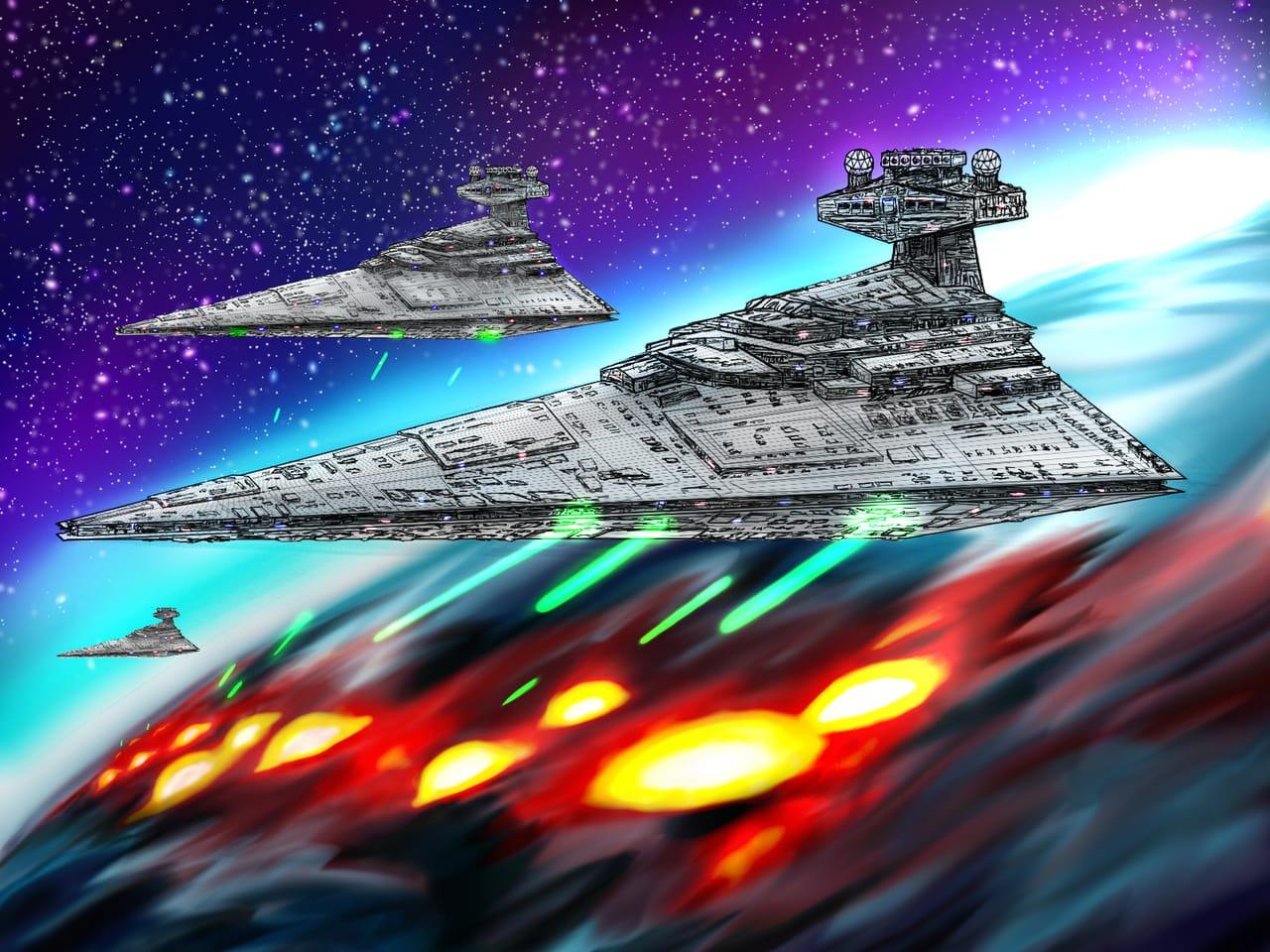 スターデストロイヤー(発光処理有りと無し) Illust of 猫ミミ兵 sci-fi メカ space