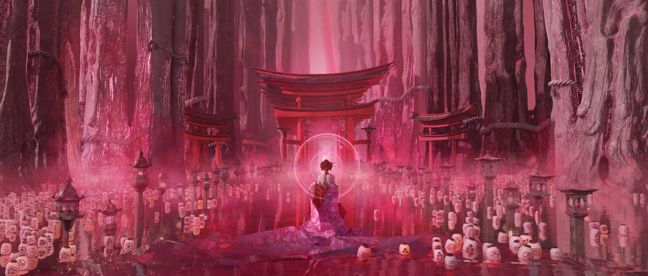 matsuri Illust of huteford Kyoto_Award2020_illustration torii kimono 이뻐요ㅜ 진짜 헐