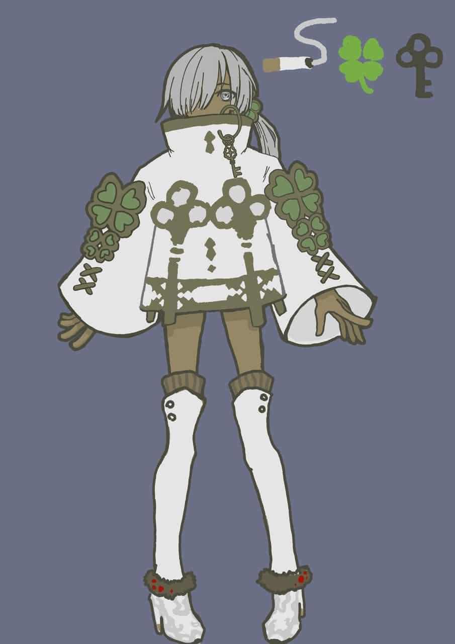 キャラデザ Illust of うつメ 鍵 白髪褐色肌 original white_hair characterdesign 褐色肌 tobacco 片目隠れ クローバー 中性