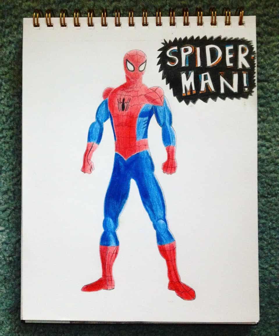 Spider-Man Illust of Rue Lee drawing coloredpencil sketchbook superhero art fanart peterparker Spider-Man comicbook