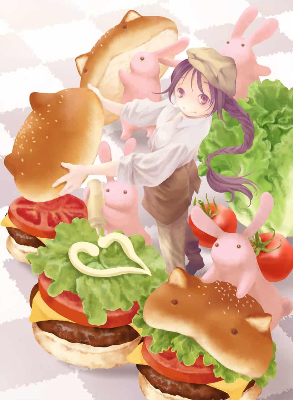 過去絵『もぐもぐ・職』表紙、裏表紙 Illust of 砂虫隼 fantasy Post_Multiple_Images_Contest girl animal oc rabbit cat food original 生き物