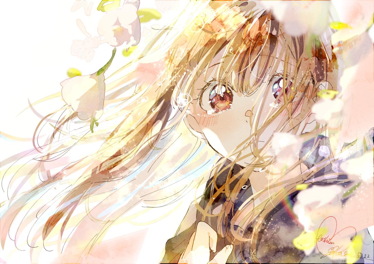 桜吹雪 Illust of 星野 ゆか@再浮上 uniform girl いとさんのラフ画お借りしました✨ tears sakura きらきら