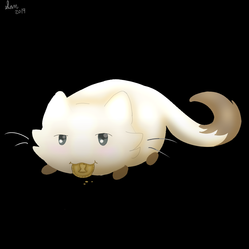 A butter bean eating a fish cookie lol.