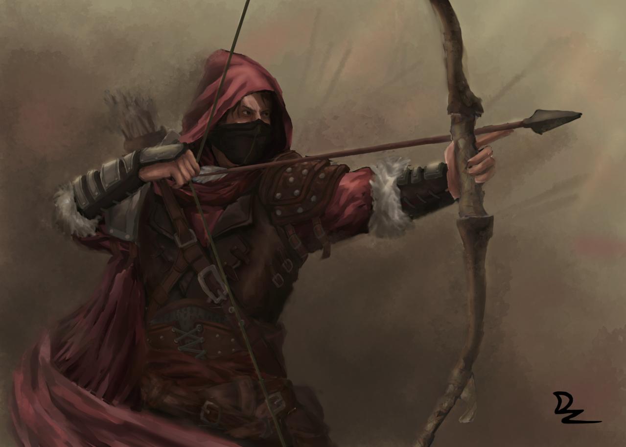 Archer Illust of D'zaky fantasy February2021_Fantasy war arrow Archer bow