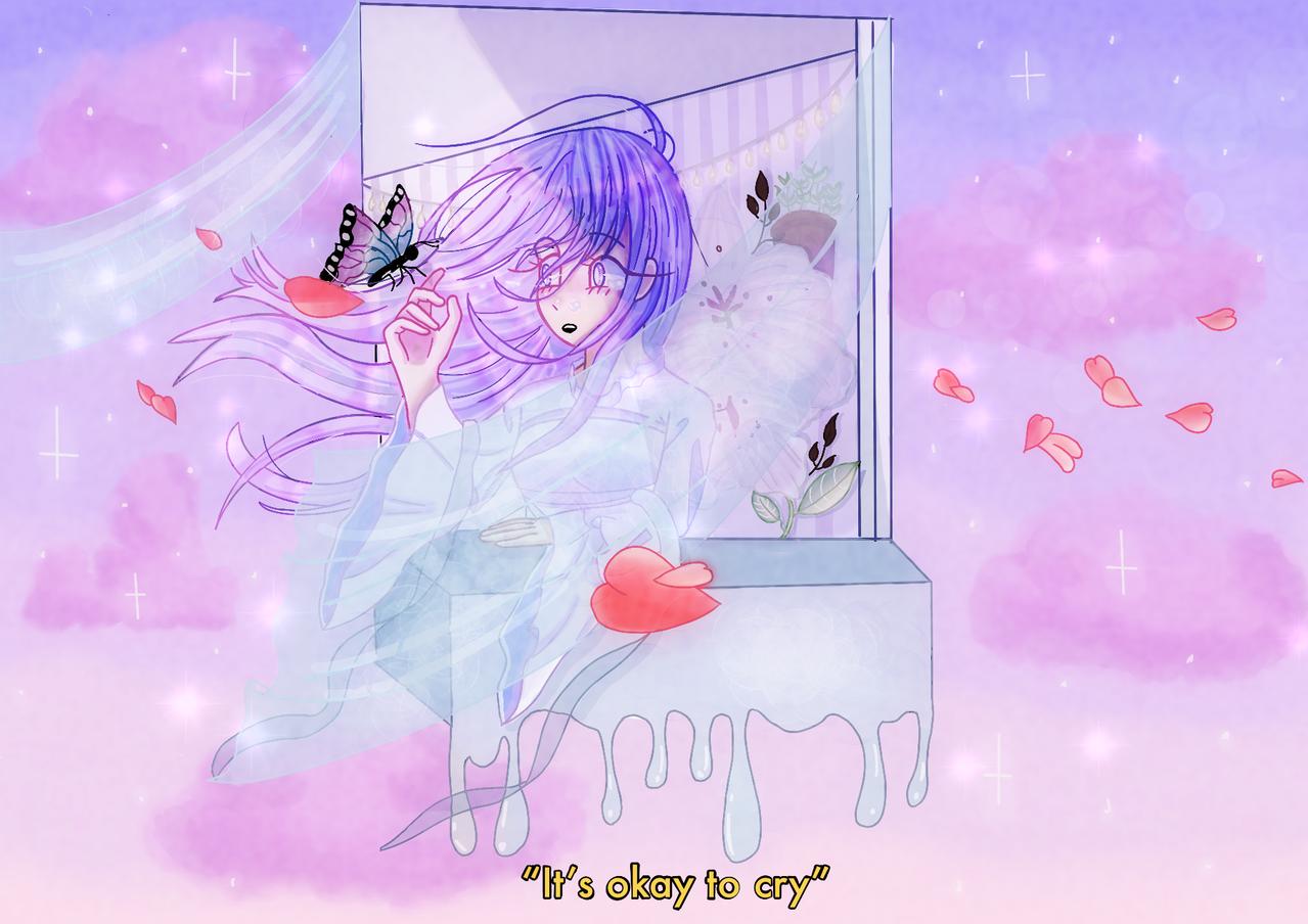 it's okay to cry Illust of Moog medibangpaint night aesthetic clouds pastel butterfly sparkle purple