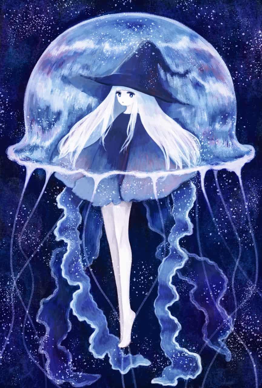 くらげと魔女 Illust of 伊砂祐李 (Yuri Isa) Jul.2019Contest medibangpaint 深海 jellyfish witch white_hair