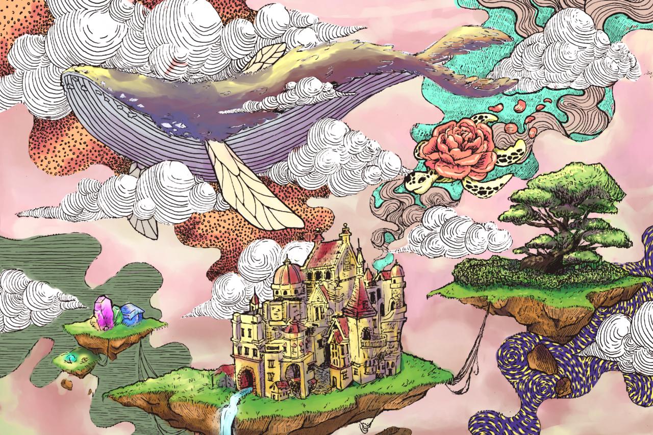 Plate 7 Illust of Pretty Princess 26 fantasy medibangpaint clouds castle whale