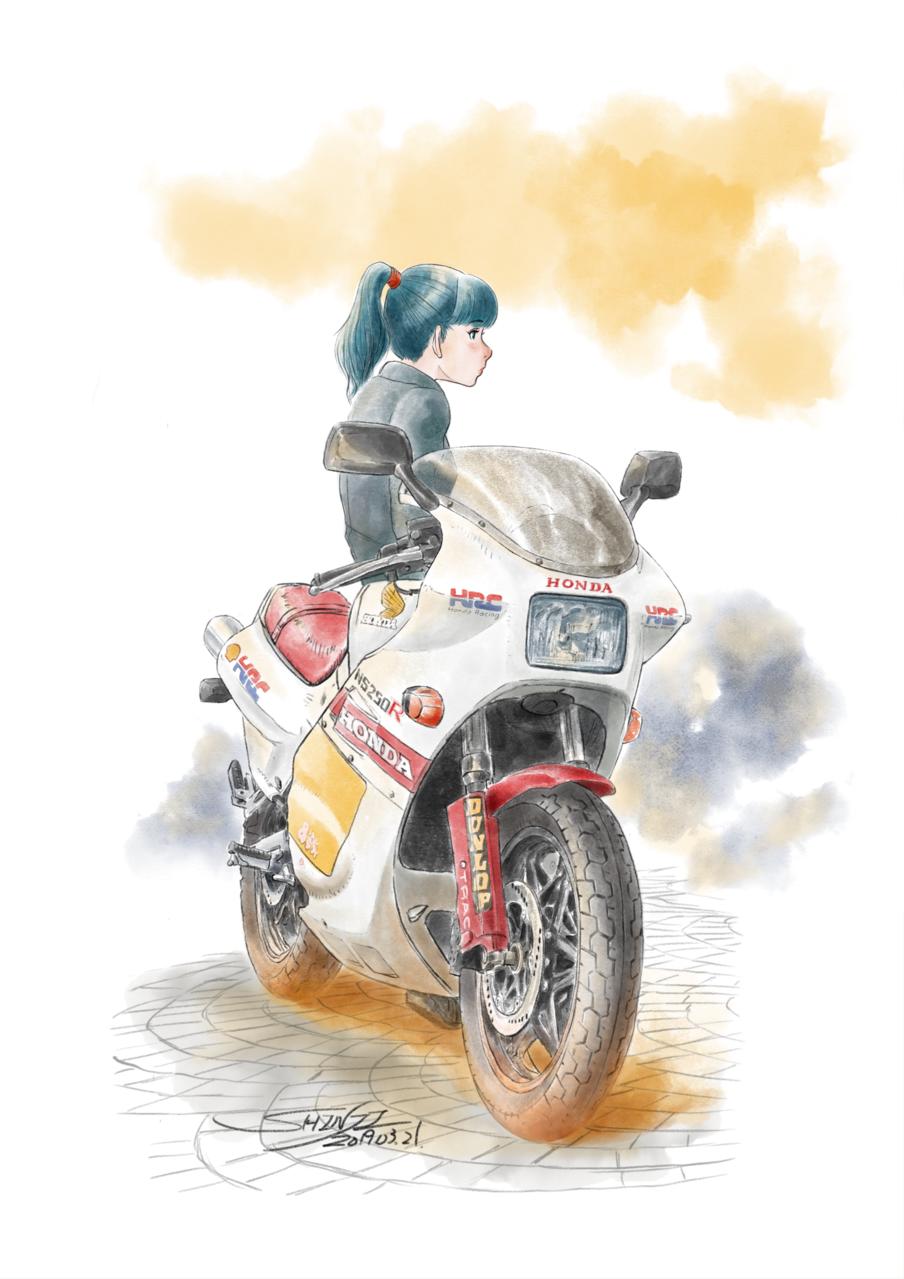 HONDA女子 Illust of シン Original_Illustration_Contest motorbike girl おんなのこ JK 水彩風
