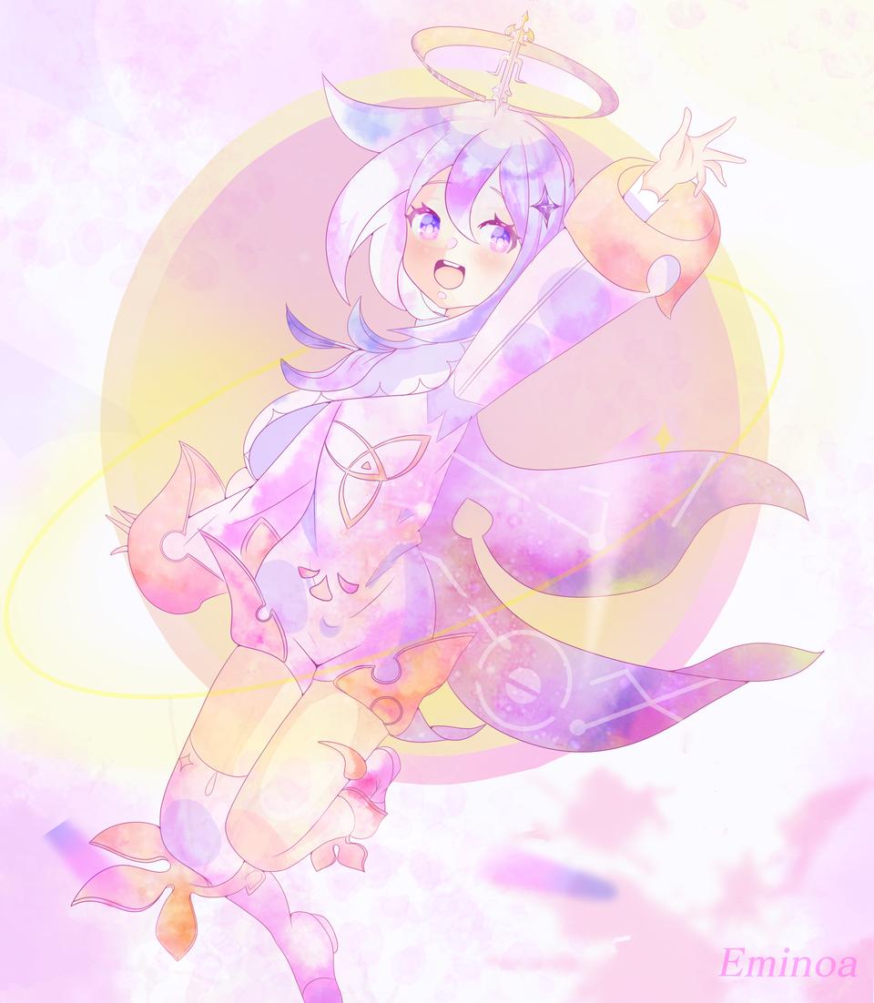 Paimon-Genshin impact (fanart) Illust of Eminoa medibangpaint pink girl Geshinimpact animegirl cute fanart digitalartwork