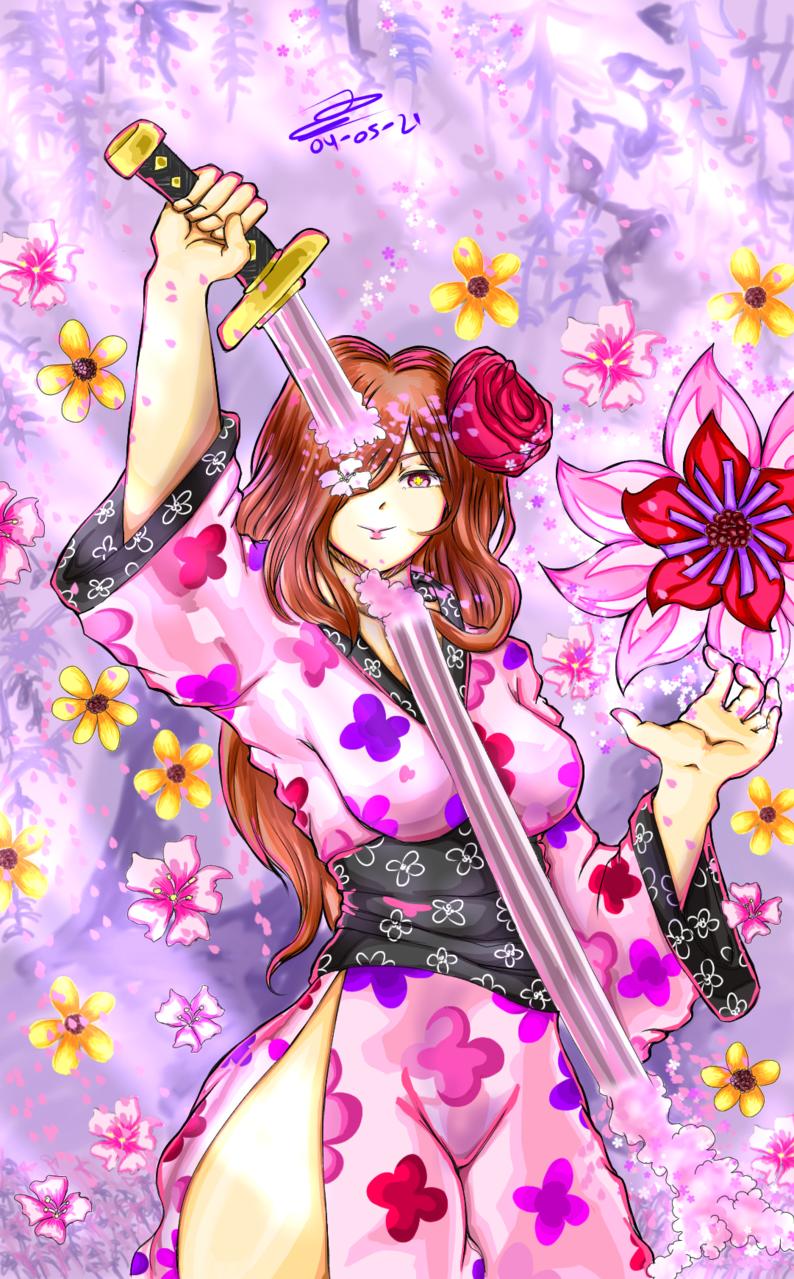 Sakura katana Illust of Thegamerproandroid April2021_Flower flower sakura ilustration oc
