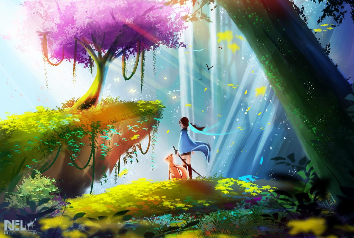 Can't think of any XD Illust of Kieran fantasy medibangpaint girl fox scenery