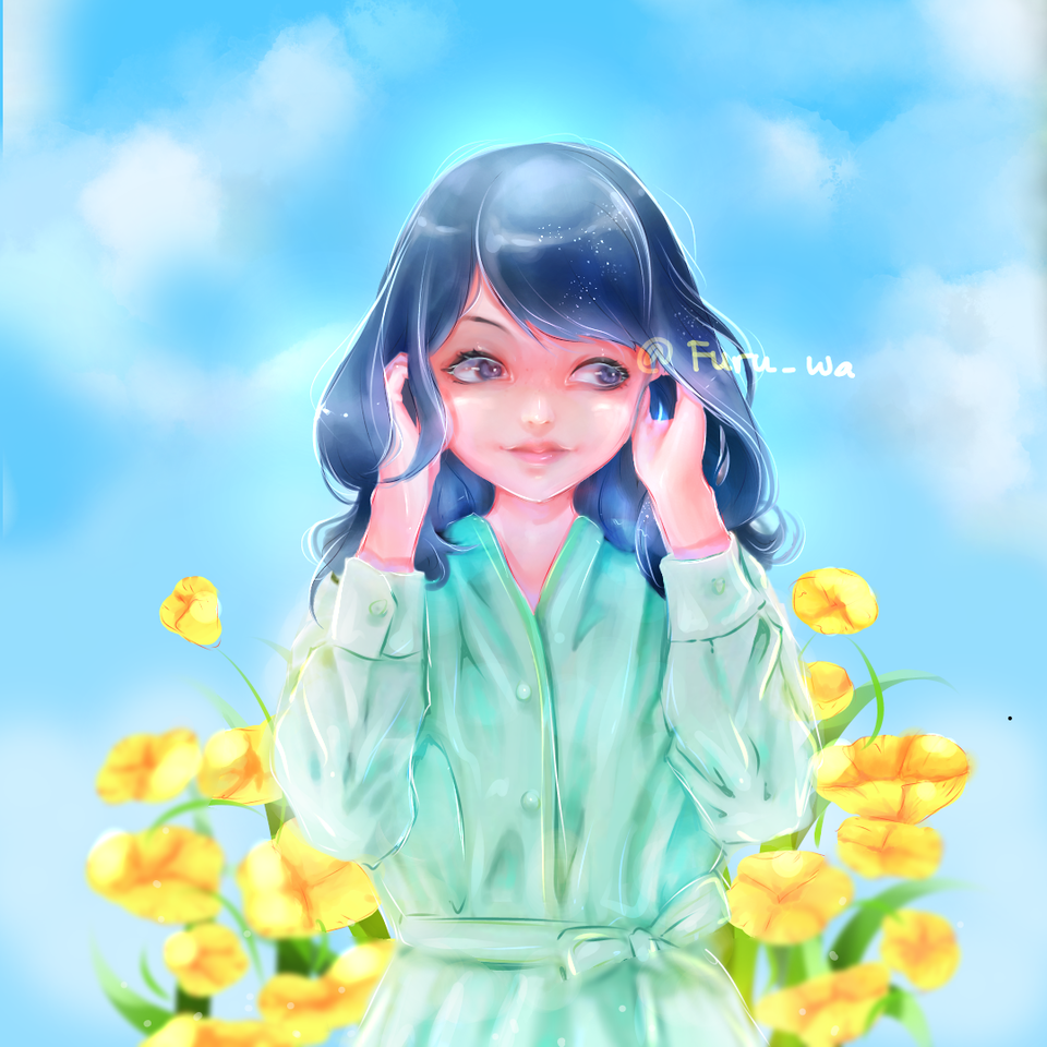 Illust of Furuwa blue girl hair medibangpaint art fanart flower anime friend