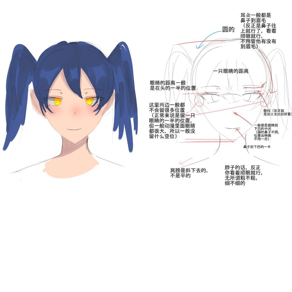 Illust of 繁华刹景fhcj doodle twin_ponytails 教程(?) original girl head