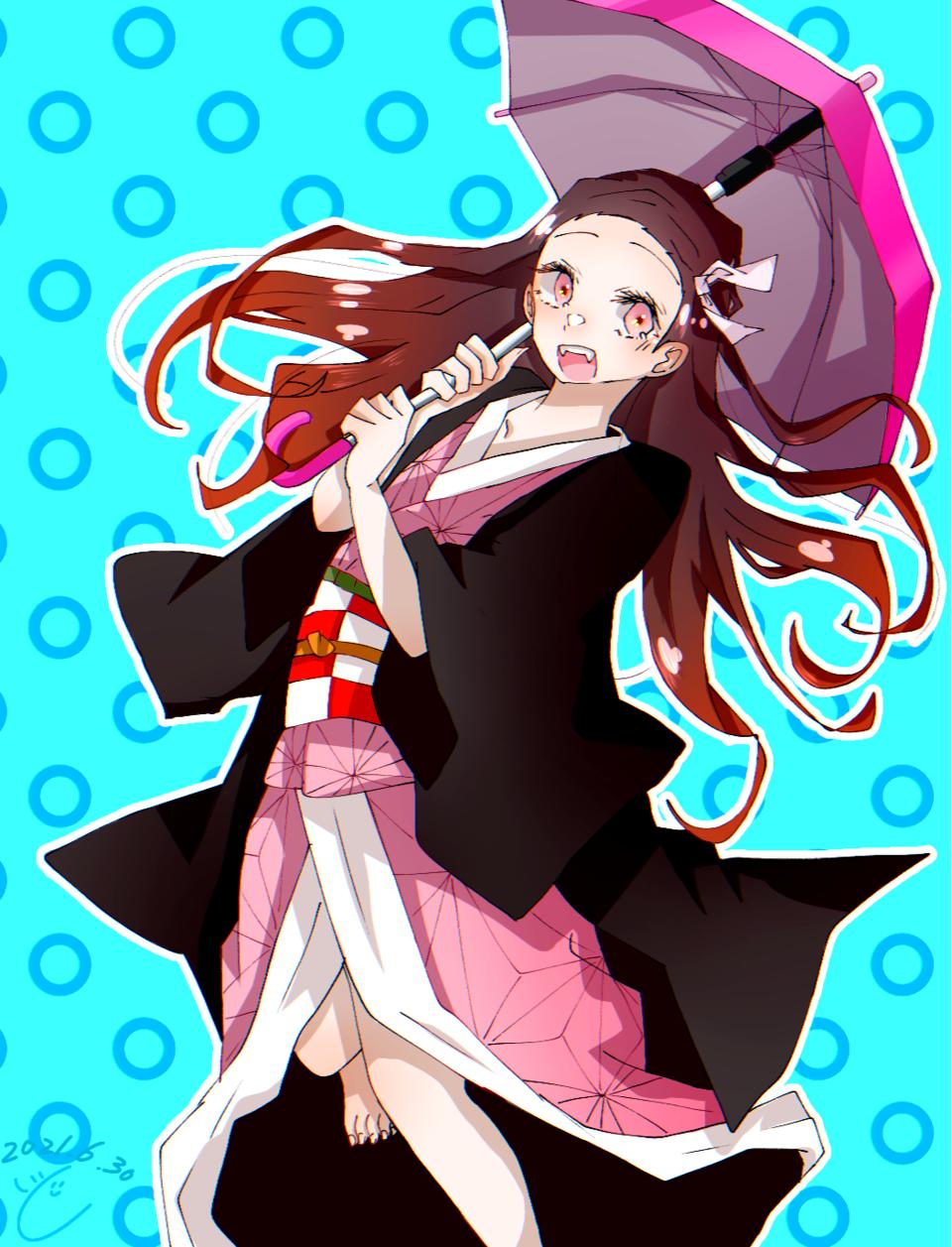 梅雨だねぇ Illust of 綱 KamadoNezuko KimetsunoYaiba アイビスペイント girl umbrella digital