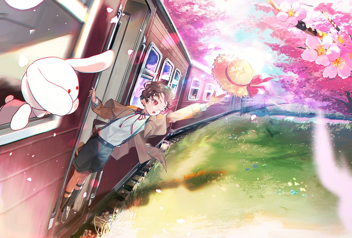 旅立ち Illust of 牛野こも 美しい sakura train original