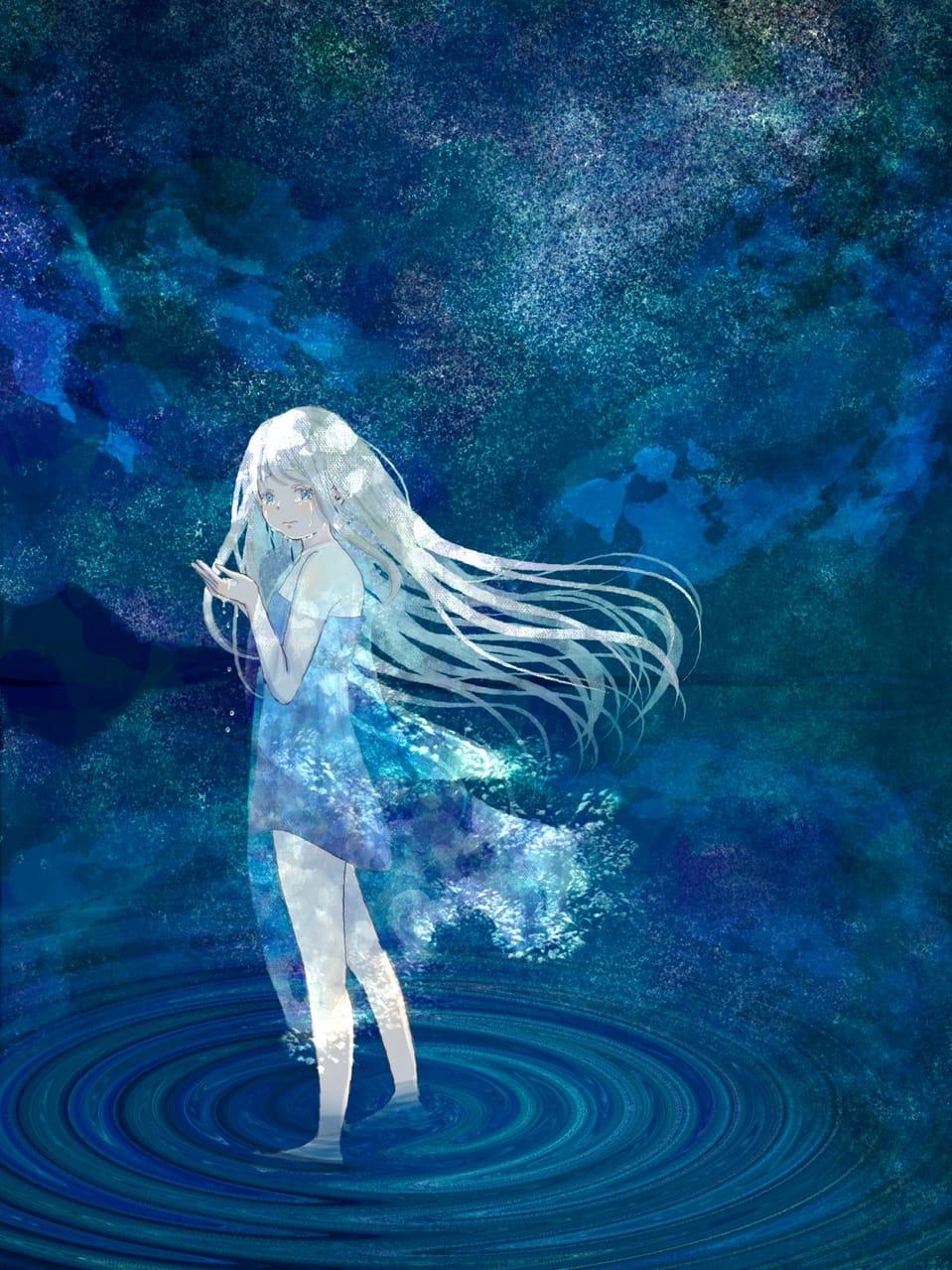 涙を溶かす Illust of 熊谷のの 夜空 girl scenery sea 銀髪 original tears background