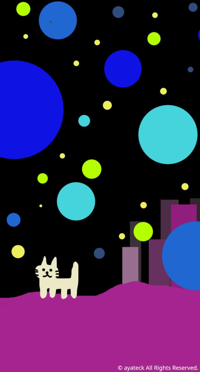 おねこさんの宇宙都市 Iphone壁紙 Ayateck Illustrations Art Street