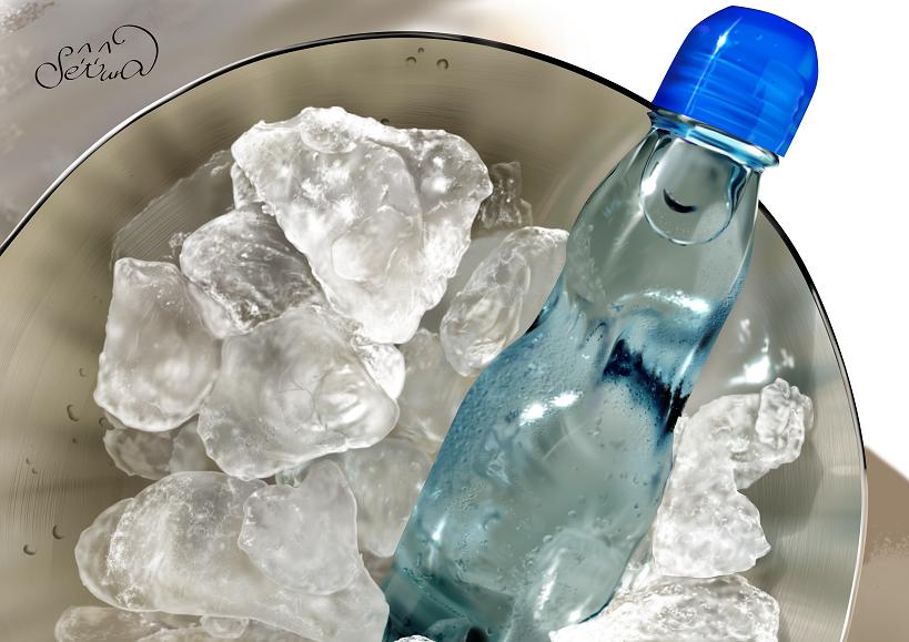 氷にラムネ(練習) Illust of せつら 模写 ラムネ ガラス瓶 リアル絵 ice 飯テロ