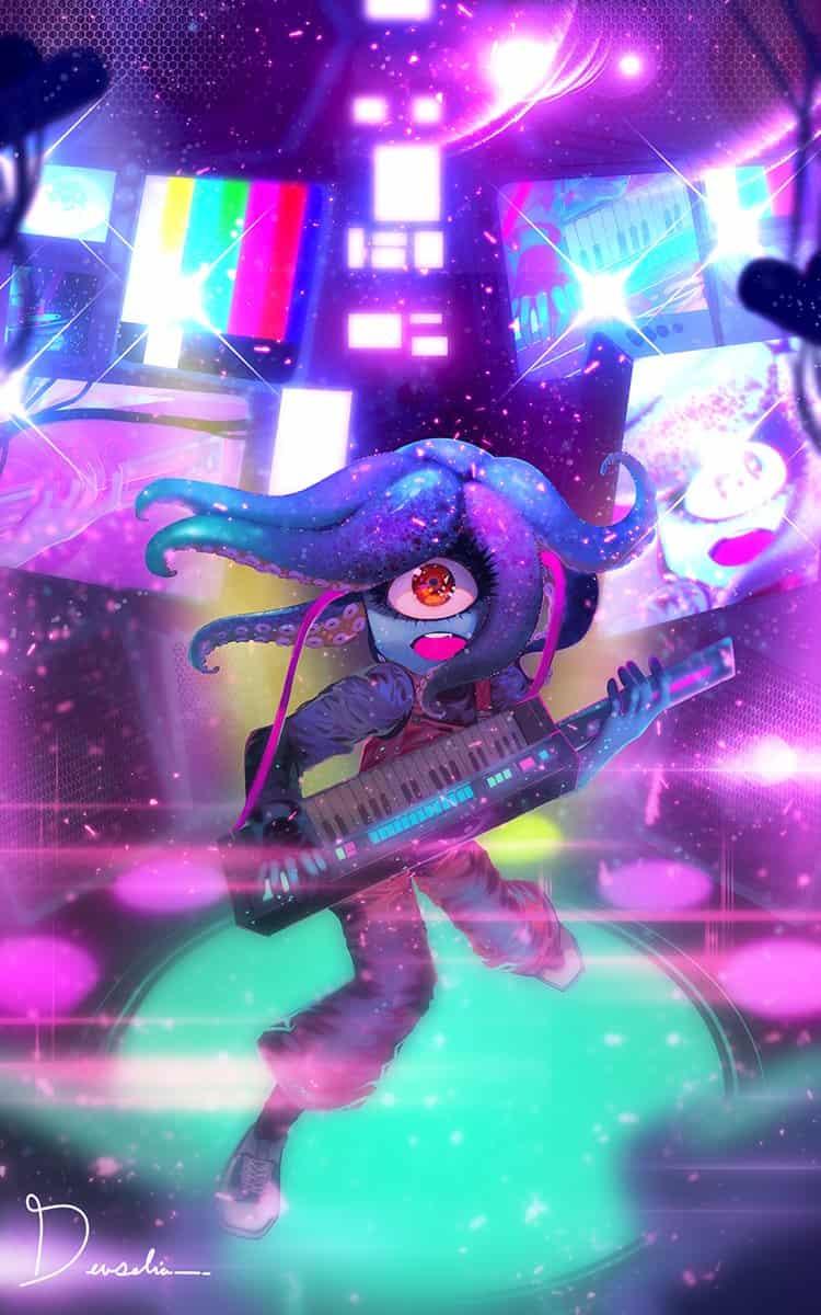 Jamming Illust of Devselia music purple girl oc pink drawing blue monster digital illustration