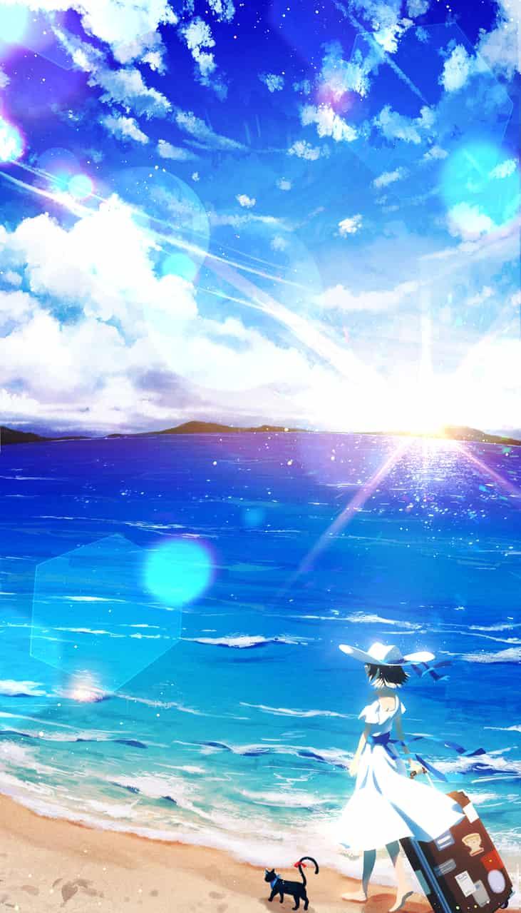砂浜にて Illust of cluseller sky cat 景色 太陽 光 ワンピース(服) sea