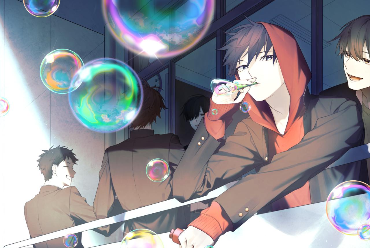 昼休み、友達と Illust of ろぼ ART_street_Illustration_Book_Contest boy 学校 シャボン玉 original