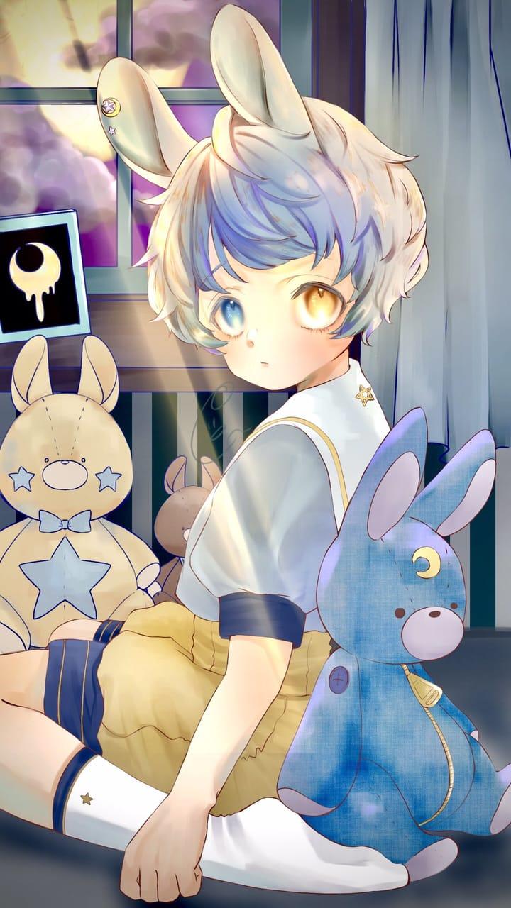 🐰🌙 Illust of ぐら ぺぴ子 June2021_Anthropomorphism illustration Personification oc original rabbit うさぎ耳 boy