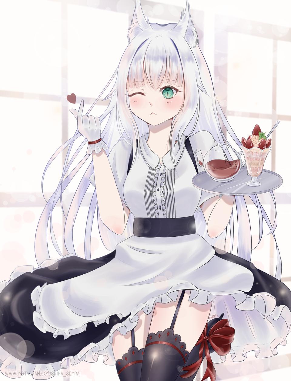 Kitsune Maid Illust of Shiina Sempai anime maid shiina kawaii cute illustration shiinasempai kitsune manga