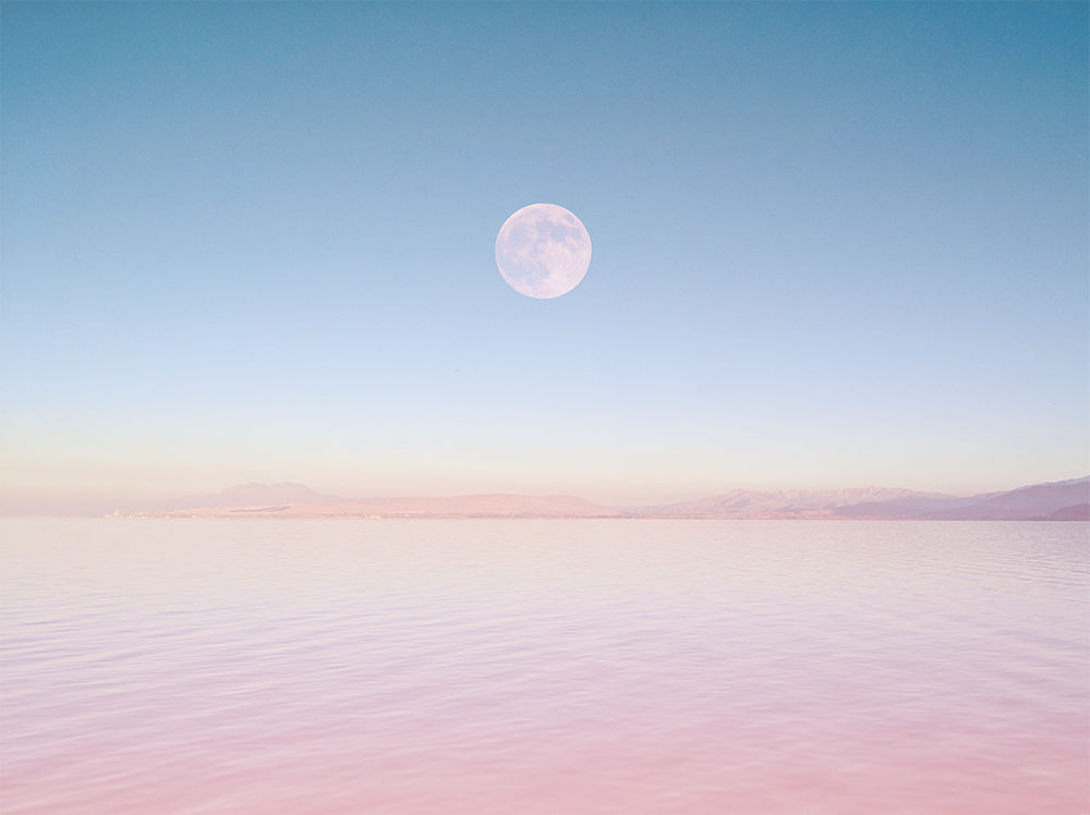 Sea Desert / 海沙漠  •  Day / 白晝 Illust of G-Noor fantasy ARTstreet_Ranking sky painting sea pink moon scenery original illustration