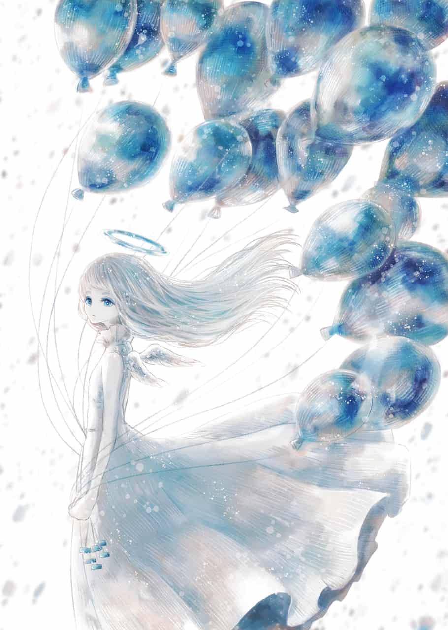 リメンバー・ミー Illust of 伊砂祐李 (Yuri Isa) white_hair original angel Balloon girl
