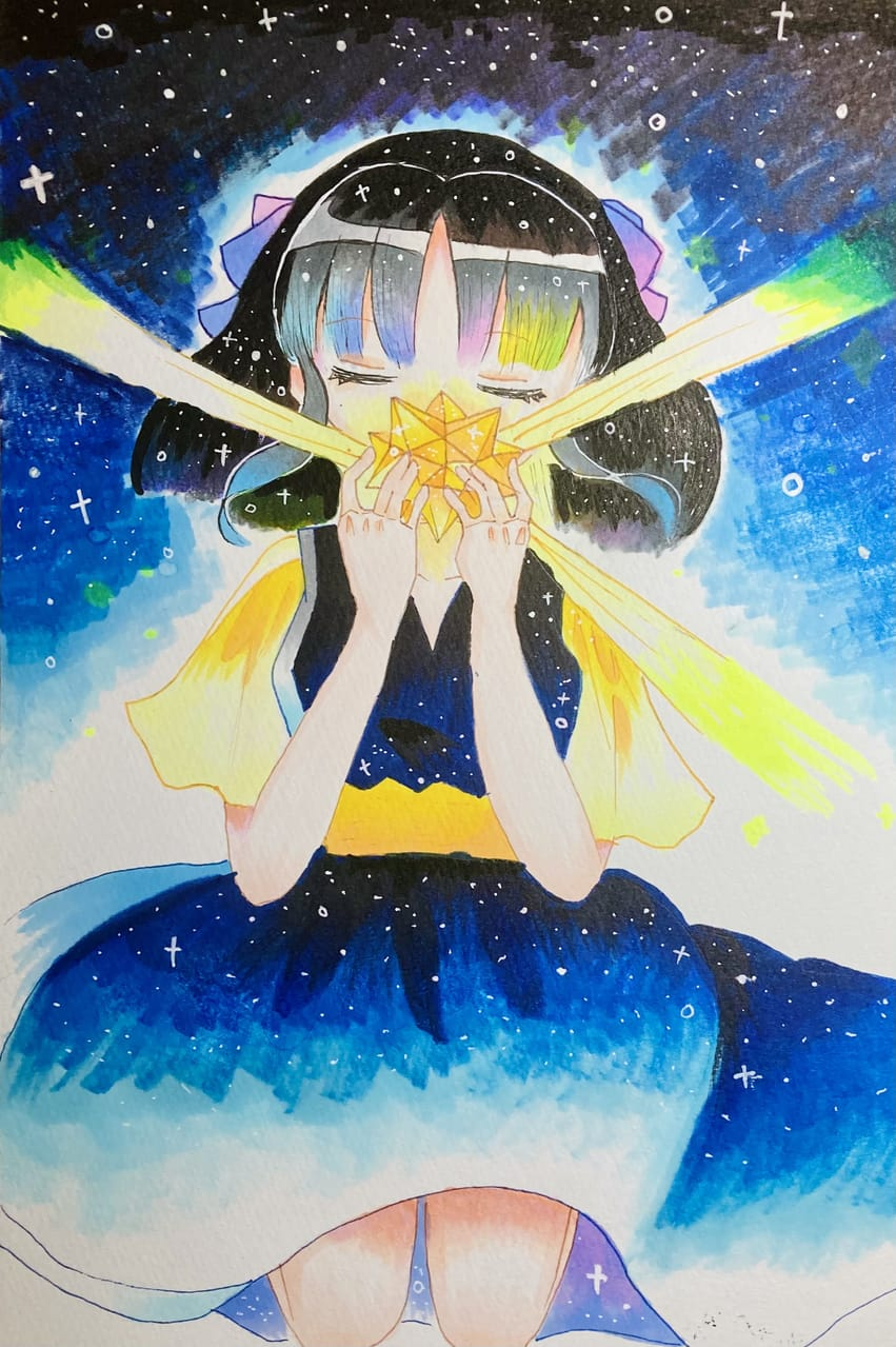 GALAXY Illust of ラヴィ#アナログ同盟 Copic girl star 綺麗 アナログ space