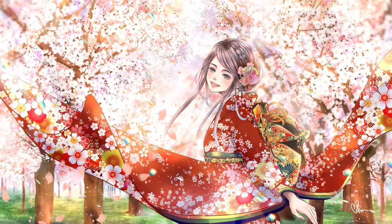 花團錦簇 Flower Clusters  Illust of Miru米如 April2021_Flower Kyoto_Award2020_illustration January2021_Contest:OC girl 着物少女 Japanese_style 微笑 original sakura kimono 溫暖 日系 illustration