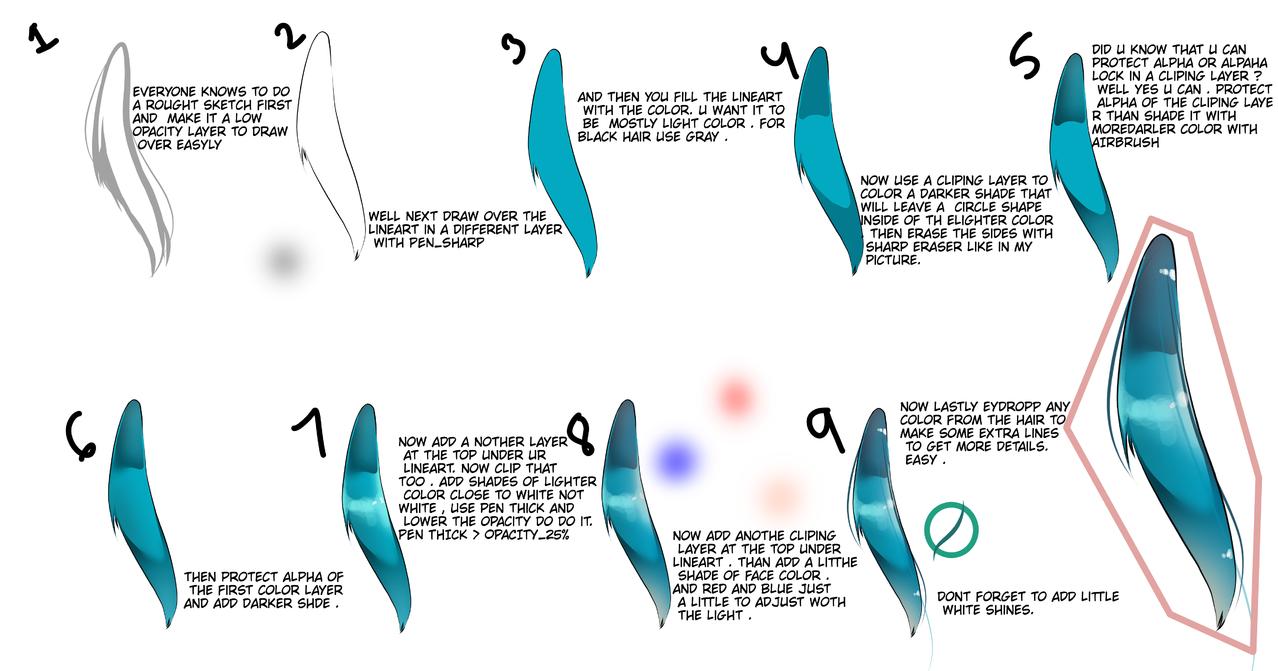 easy hair coloring tutorial Illust of Fari The_Challengers tutorial