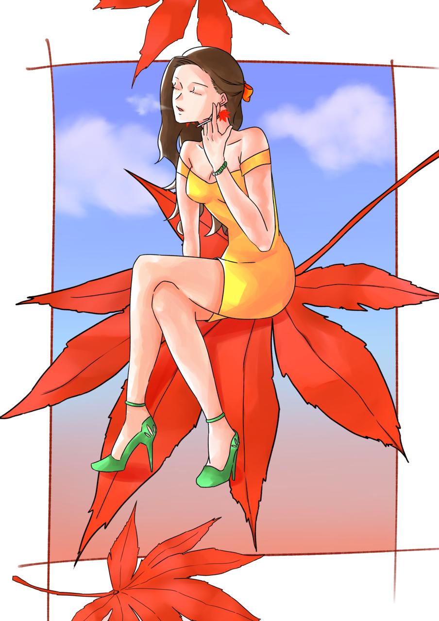 秋 Illust of ハン January2021_Contest:OC flower girl autumn original