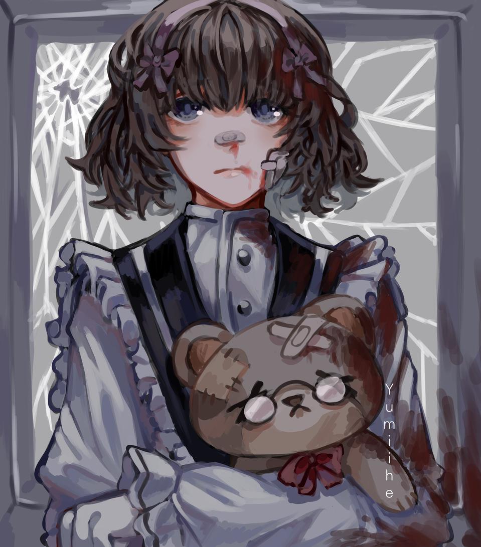 For a dtiys submission Illust of yumiihe drawing teddybear painting Doll digital illustration girl ribbon animegirl lolita