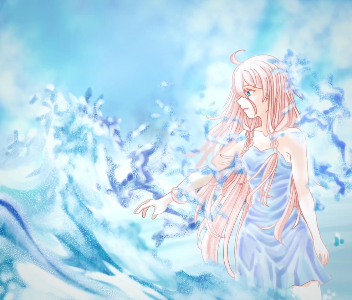 IA Illust of Akira Luca VOCALOID blue ia_vocaloid water ice IA pink_hair cute