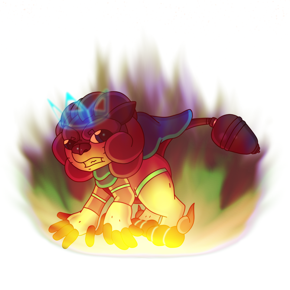 Mystic Burning Bright Future, Blank Background Illust of CopperNeon HuionDesign anime Lion cat fire kawaii cute magic rainbow furry white