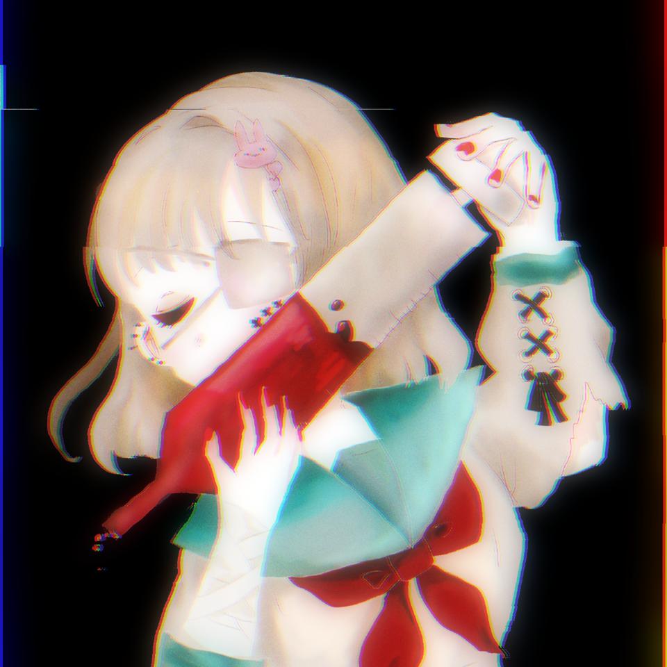 (クオヒクメ)めんへら Illust of ねむこ@発展途上 August2020_Contest:Horror white_hair rabbit sailor_uniform メンヘラ oc medibangpaint illustration girl blood おんなのこ 病み