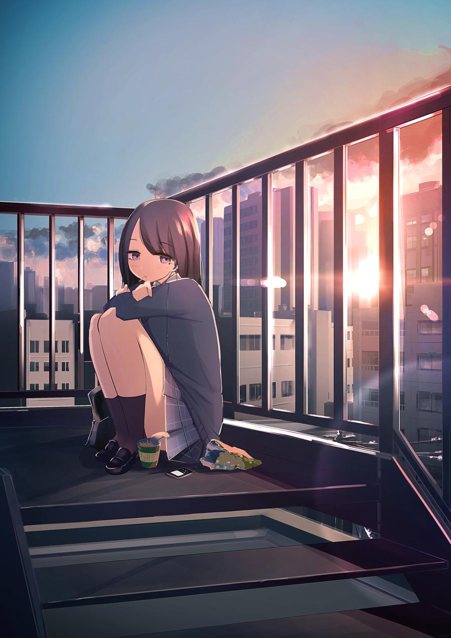 有線派 Illust of あやがたひまり 夕日 girl original