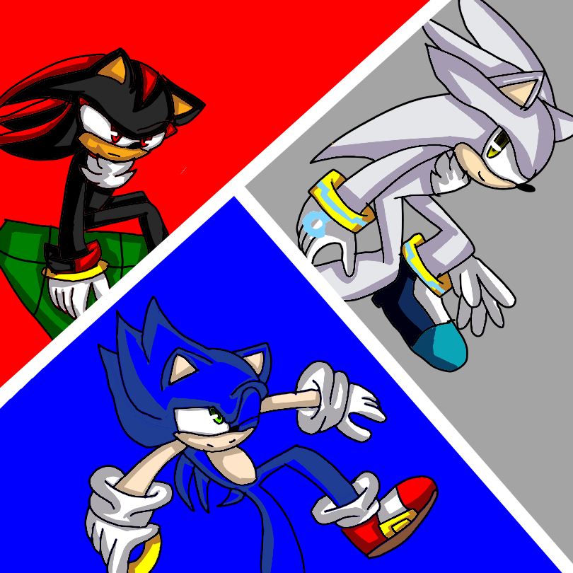 Sonic , Shadow and Silver Illust of AndreaTheCat medibangpaint shadow fanart Sonic Silver