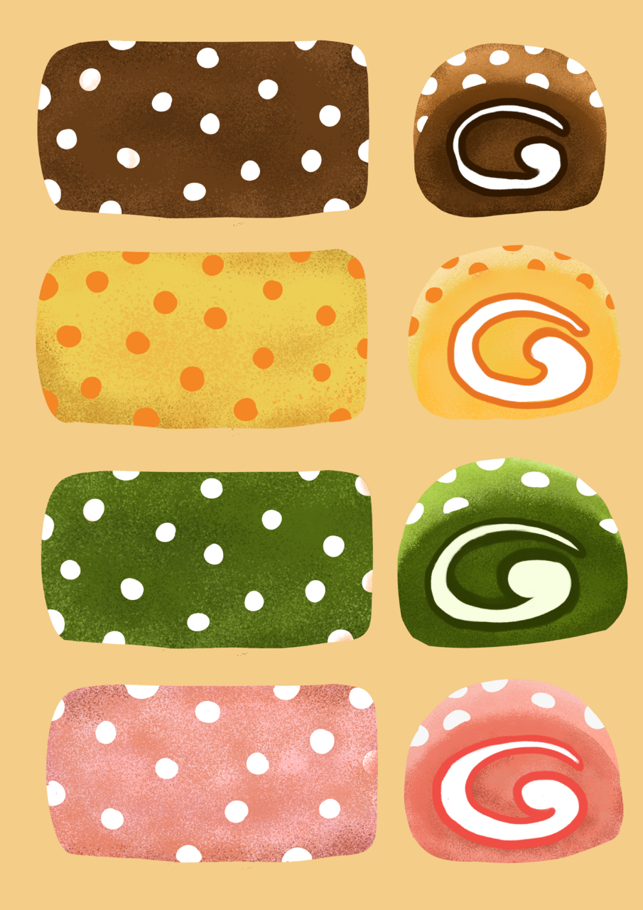 Polkadot Roll Cake Illust of Andinatz medibangpaint iPad_raffle