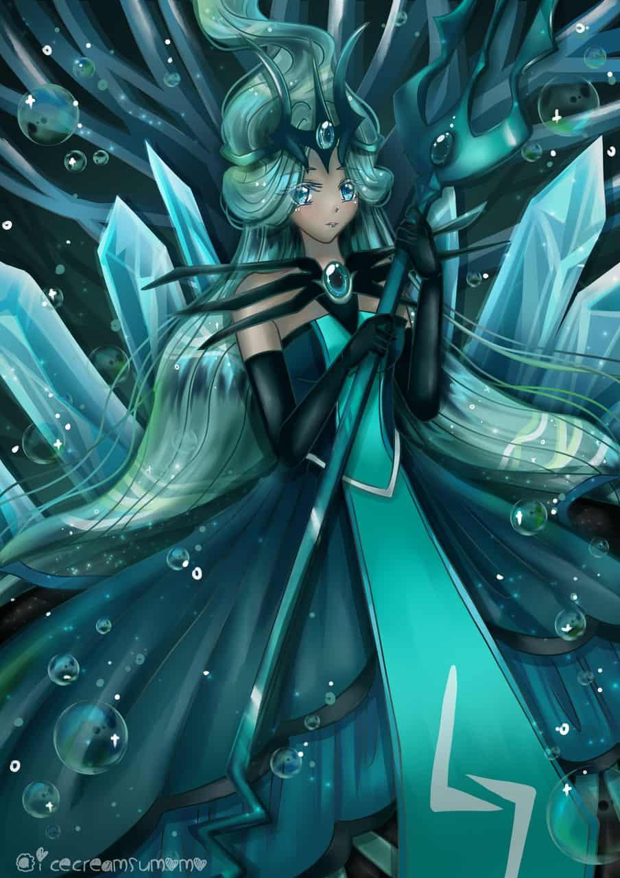 Seafairy~the Dread trident of Abyss Illust of Sumomo animegirl Seafairy fanart Cookie_Run cookierunovenbreak animestyle illustration seafairycookie cookierunfanart animeart