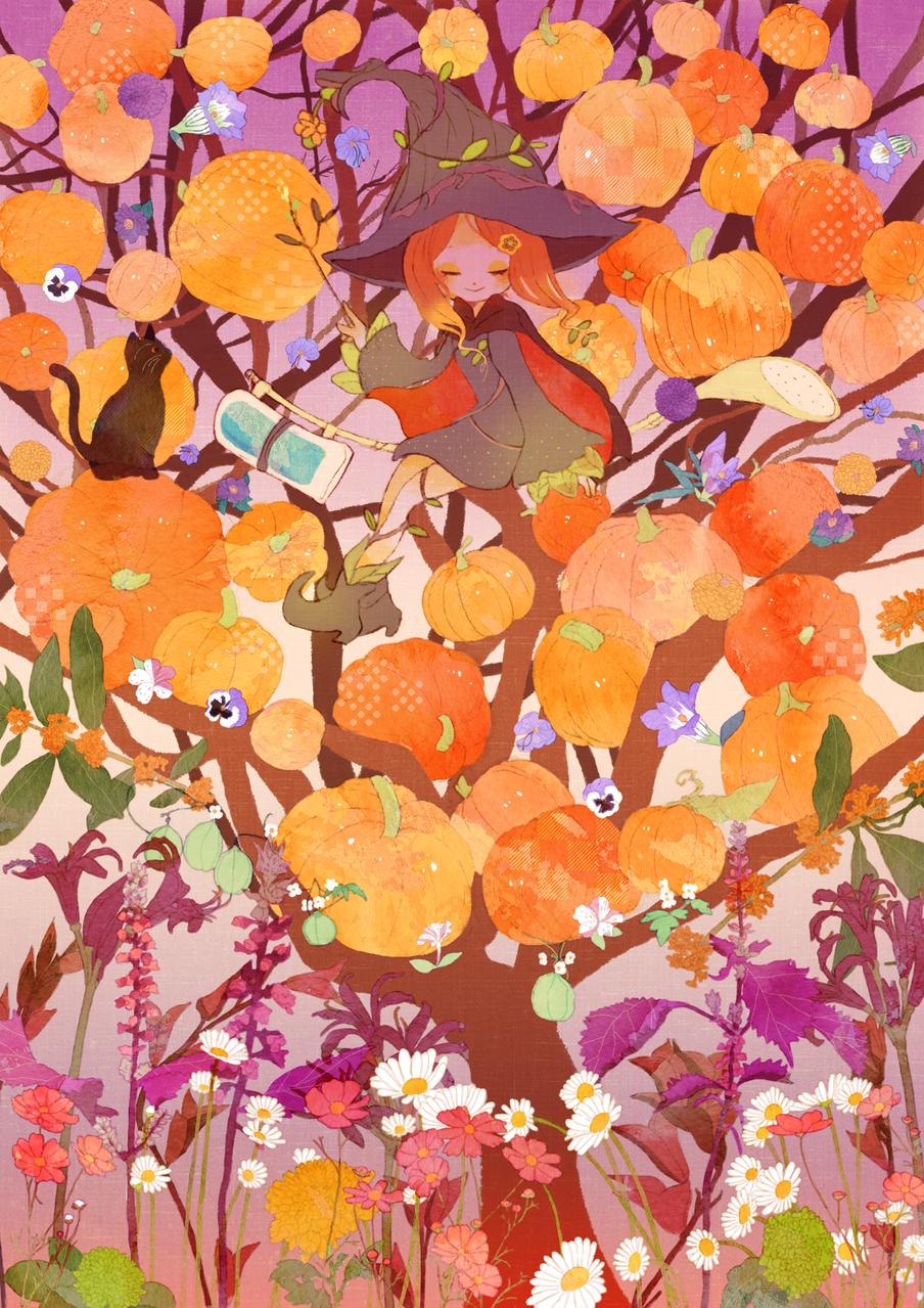 秋に咲く花たち Illust of kita Oct.2019Contest かぼちゃ witch flower Halloween