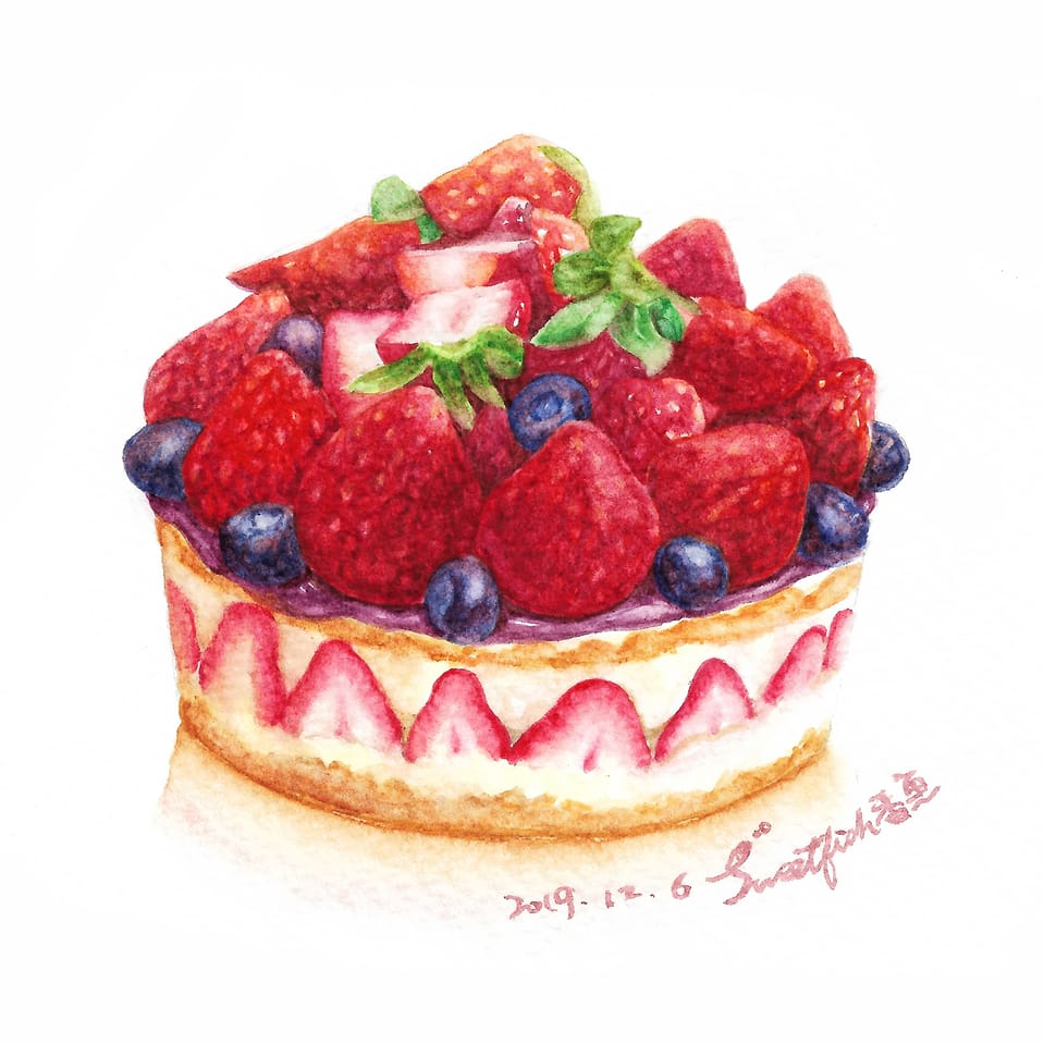 Strawberry Cake Illust of Sweetfish October2020_Contest:Food watercolor 水彩插画 スイーツ strawberry food sweet 水彩画 Watercolors cake 水彩風