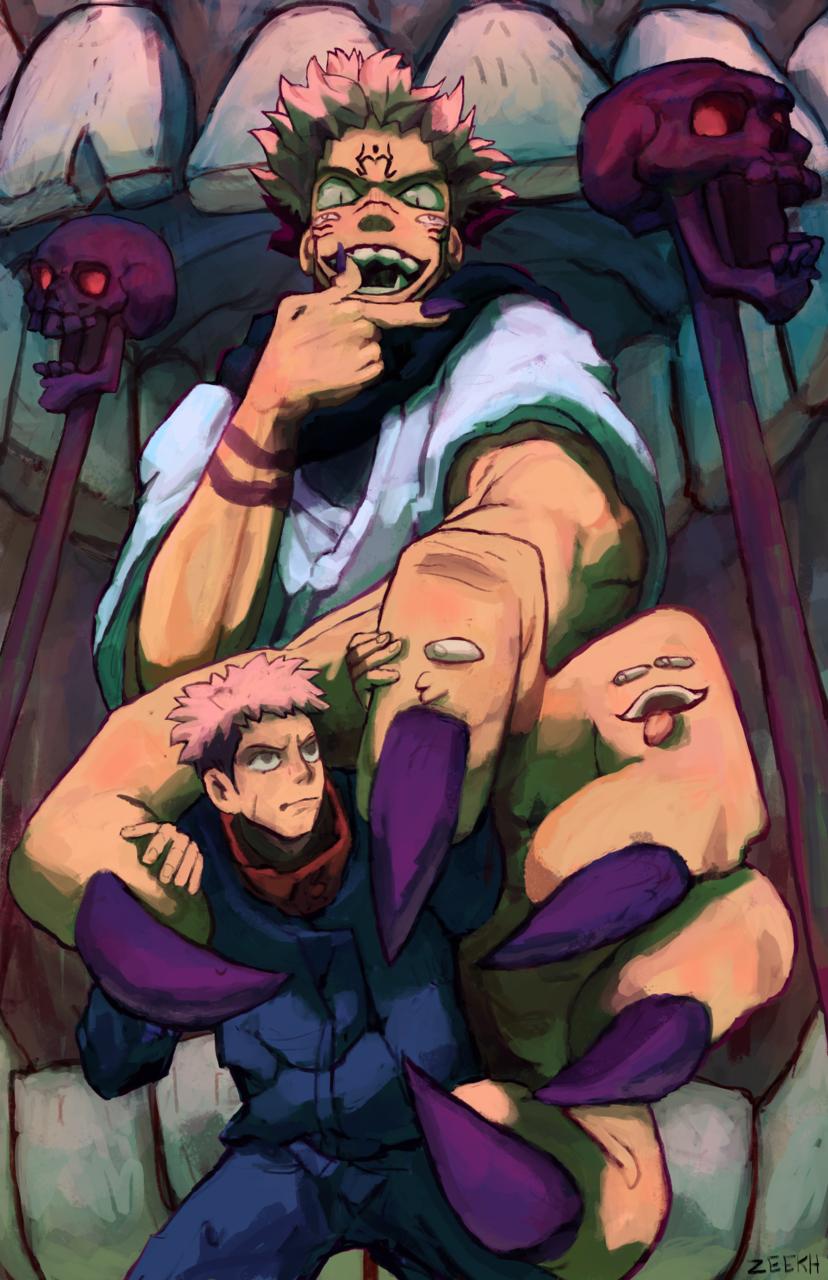 Jujutsu Kaisen Fan art Illust of zeekh horror JujutsuKaisenFanartContest art Yuji_Itadori fanart blackartist Sukuna anime illustration drawingwhileblack JujutsuKaisen