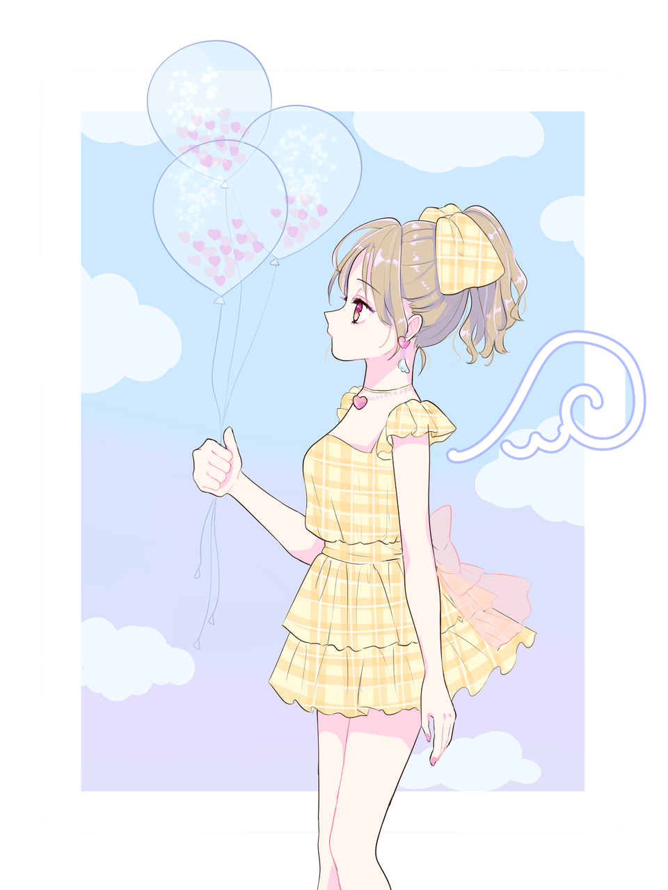空色 Illust of NUTs April.2020Contest:Color medibangpaint illustration パステルガール girl ゆめかわ kawaii original sky Balloon